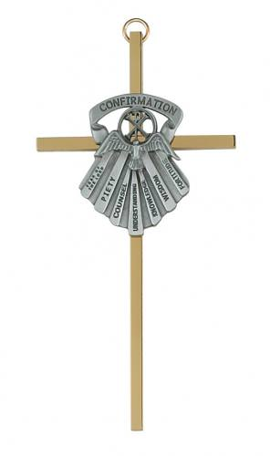 Cross Wall Confirmation Gifts Spirit 6 inch Brass