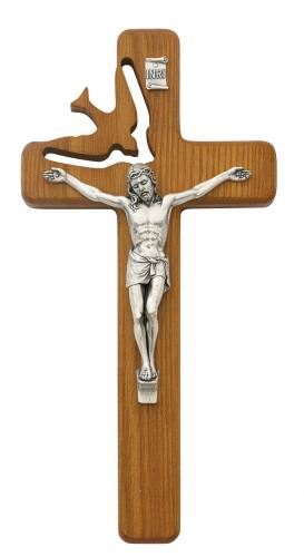 Crucifix Wall Confirmation Dove Cut 8 inch Walnut