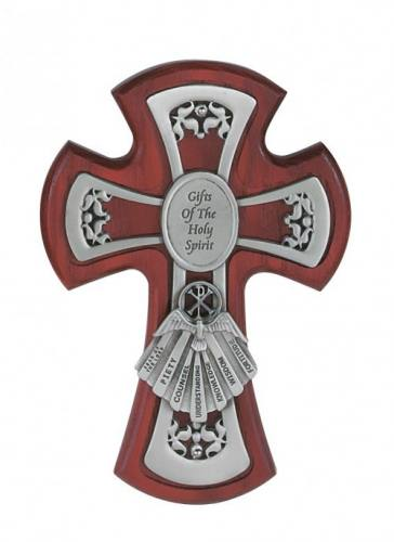 Wall Cross Confirmation Gifts Spirit 6 inch Pewter Inlaid Cherry