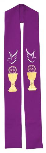Stole Poly Linen Weave Chalice Host Dove