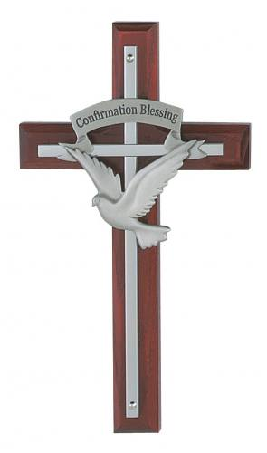 Wall Cross Confirmation 7 inch Silver Inlaid Cherry