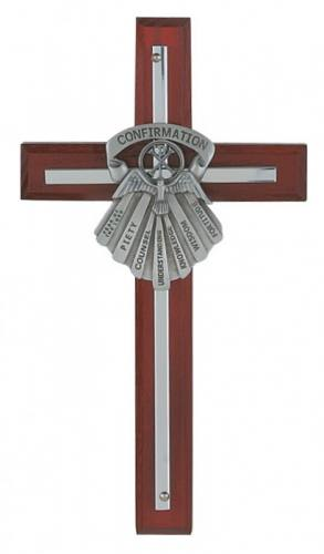 Wall Cross Confirmation Gifts Spirit 7 inch Silver Inlaid Cherry