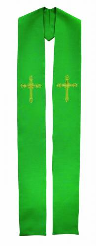 Stole Poly Linen Weave Ornate Cross