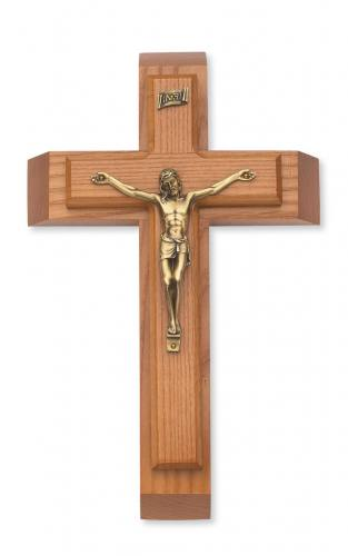Crucifix Sick Call 12 inch Walnut Brass Corpus