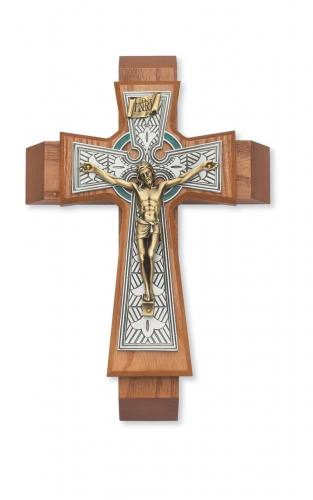 Crucifix Sick Call Celtic 11 inch Walnut Pewter Inlaid Brass