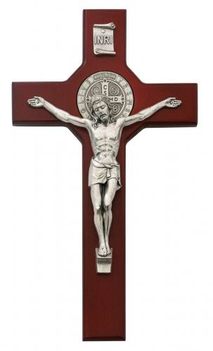 Crucifix Wall St Benedict Medal 10.5 inch Cherry Silver Corpus