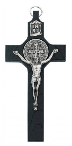 Crucifix Wall St Benedict Medal 6 inch Black Silver Corpus