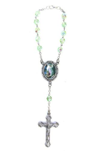 Auto Rosary Guardian Angel Oxidized Silver Green Crystal Beads