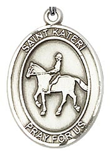 Sport Medal St Kateri Equestrian Women 3/4 inch Sterling Silver