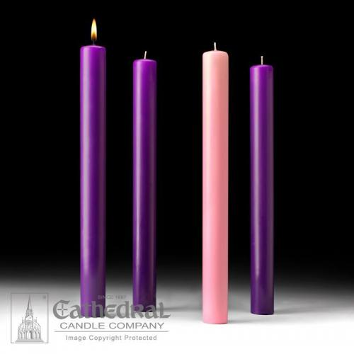 "Advent Candle Set 51% Beeswax 1-1/2"" x 16"" Purple Rose"
