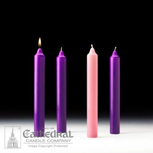 "Advent Candle Set Stearine 1-1/2"" x 12"" Purple Rose"