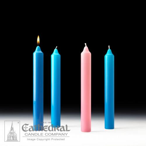 "Advent Candle Set Stearine 1-1/2"" x 12"" Blue Rose"