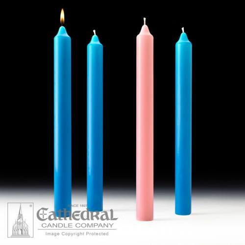 "Advent Candle Set Stearine 1-1/2"" x 16"" Blue Rose"