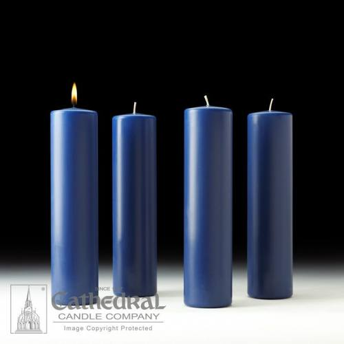"Advent Candle Set Stearine 3"" x 12"" Sarum Blue"