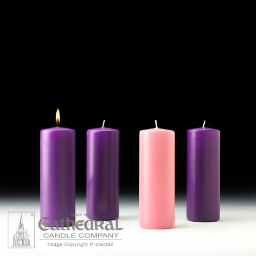 "Advent Candle Set Stearine 3"" x 8"" Purple Rose"