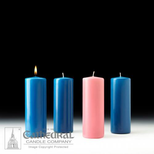 "Advent Candle Set Stearine 3"" x 8"" Sarum Blue Rose"