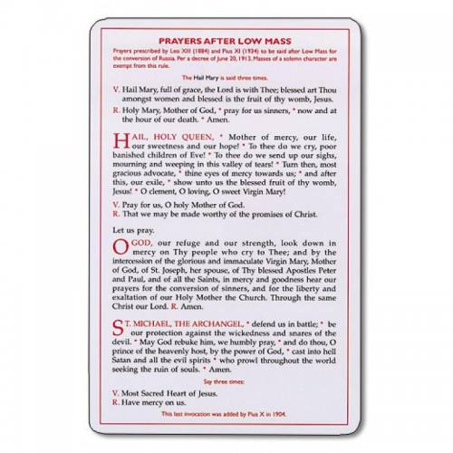 Leonine Prayers Card Prayers After Low Mass Latin-English