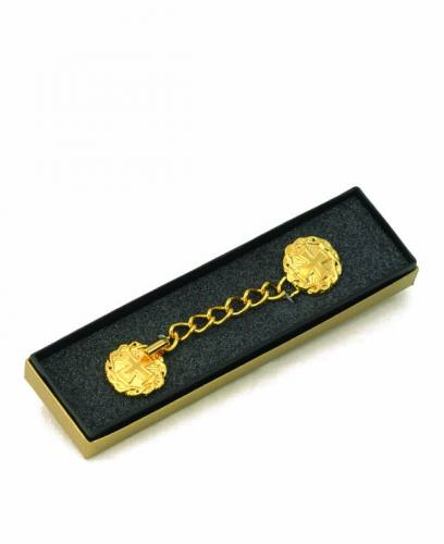 Gold Plated Cope Clasp with Cross