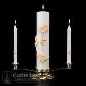 Wedding Candle Holy Matrimony Set Gold and Cream