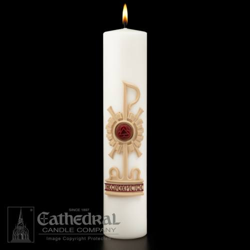 "Christ Candle Holy Trinity Sculptwax Advent 3"" x 14"""