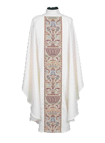 Chasuble Poly Linen Weave Coronation Metallic Brocade Panel