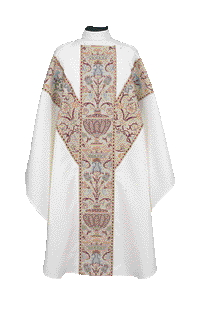 Chasuble Poly Linen Weave Coronation Metallic Brocade Andrew's