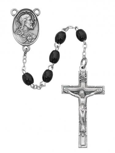 Rosary Sacred Heart Medal Pewter Silver Black Wood Beads