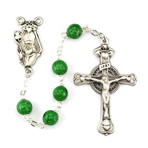 Rosary St Patrick Claddagh Pewter Silver Green Shamrock Beads