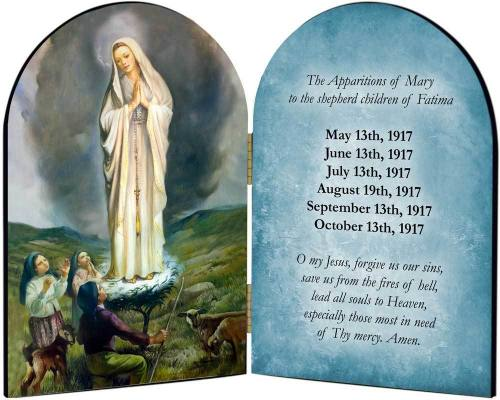 Diptych Plaque Mary Our Lady Fatima Graphic Laminated