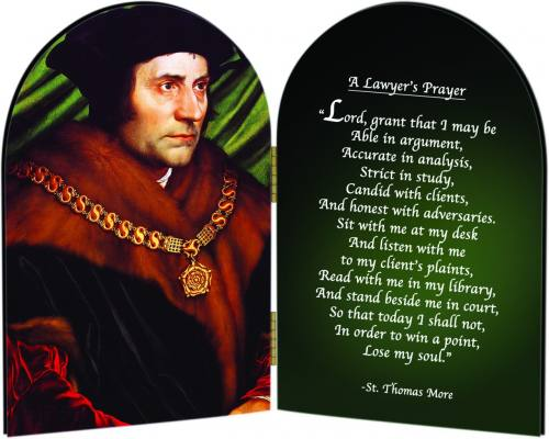 Diptych Plaque St Thomas More Graphic Laminated