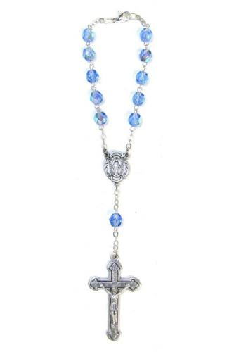 Auto Rosary Miraculous Medal Oxidized Blue Crystal Beads