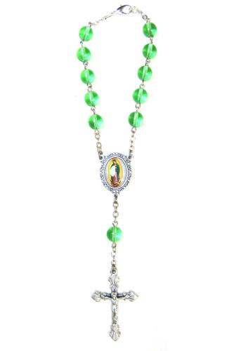 Auto Rosary Mary Our Lady Guadalupe Ox Silver Green Glass Beads