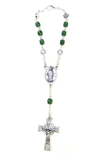 Auto Rosary St Patrick Medal Oxidized Silver Green Marble Beads