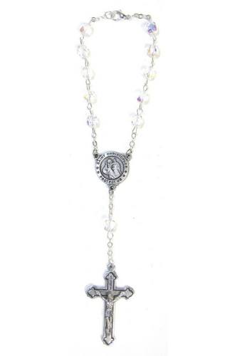 Auto Rosary St Christopher Medal Oxidized Silver Crystal Beads