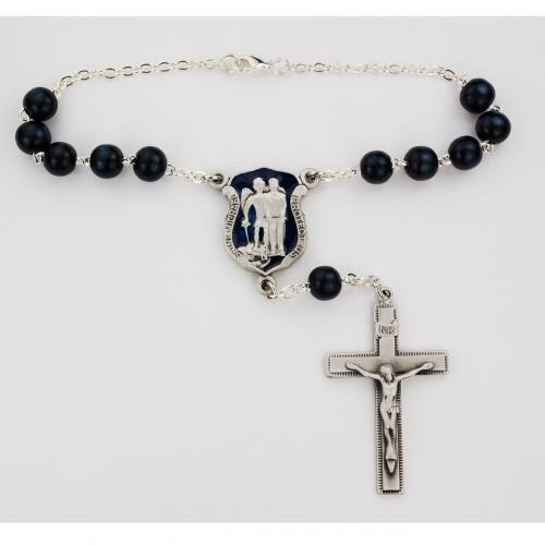 Auto Rosary St. Michael Blue Wood Beads