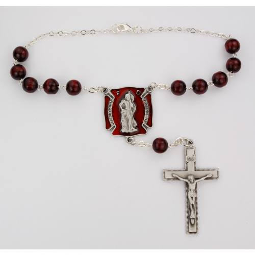 Auto Rosary St. Florian Red Wood Beads