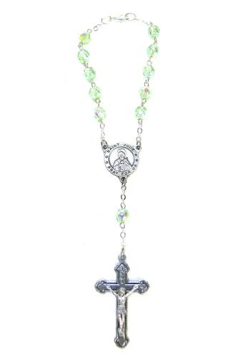 Auto Rosary St Jude Thaddeus Medal Ox Silver Green Crystal Beads