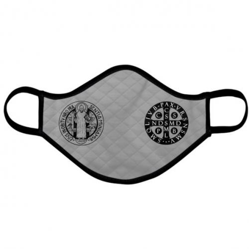 Catholic Face Mask Saint Benedict Medal Grey Adult Size