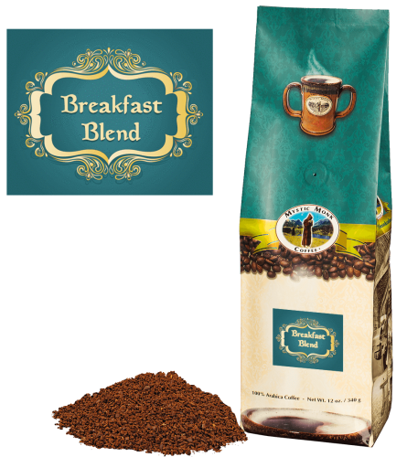 Mystic Monk Coffee Breakfast Blend Ground Light Roast 12 oz.
