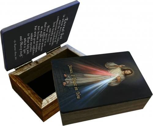Keepsake Box Jesus Divine Mercy Laminated Hardwood