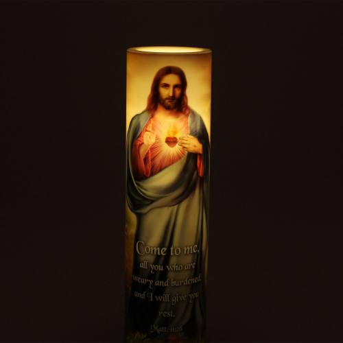 Sacred Heart of Jesus 12 Promises Flameless LED Candle