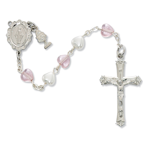 Rosary 1st Communion Miraculous Medal Pewter Silver Heart Beads