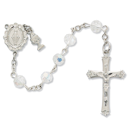 Rosary 1st Communion Miraculous Medal Pewt Silver Crystal Beads
