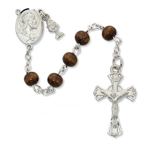 Rosary 1st Communion Sacred Heart Pewter Silver Brown Wood Beads