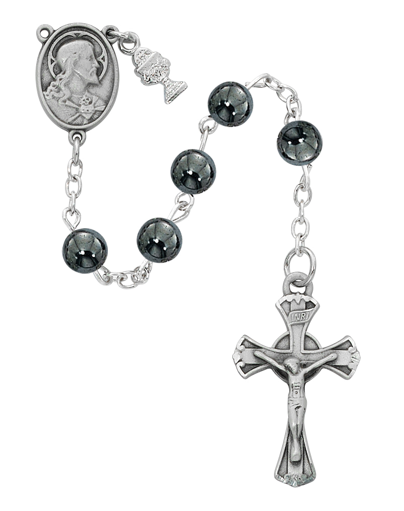 Rosary 1st Communion Sacred Heart Pewter Silver Hematite Beads