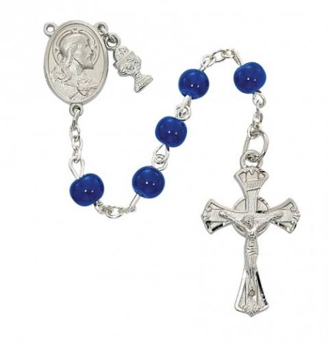 Rosary 1st Communion Sacred Heart Pewter Silver Blue Glass Beads