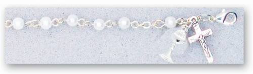 First Communion Pearl Rosary Bracelet