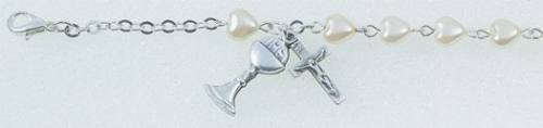 First Communion Pearl Heart Bracelet Chalice
