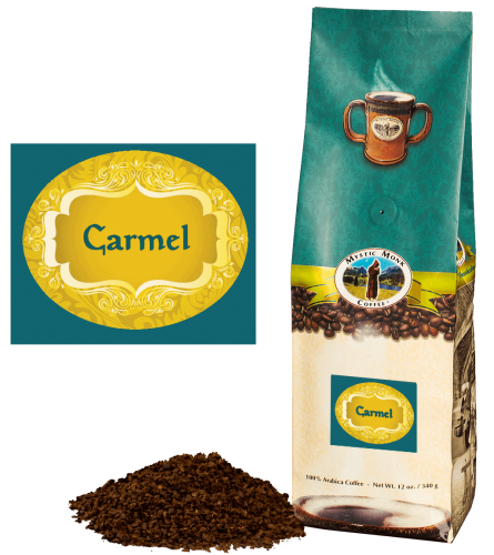 Mystic Monk Coffee Carmel Blend Ground Flavored 12 oz.