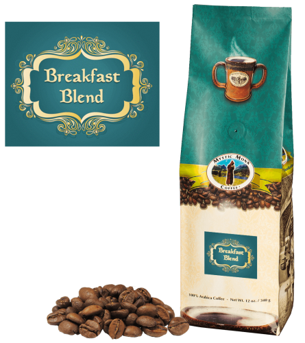 Mystic Monk Coffee Breakfast Blend Whole Bean Light Roast 12 oz.